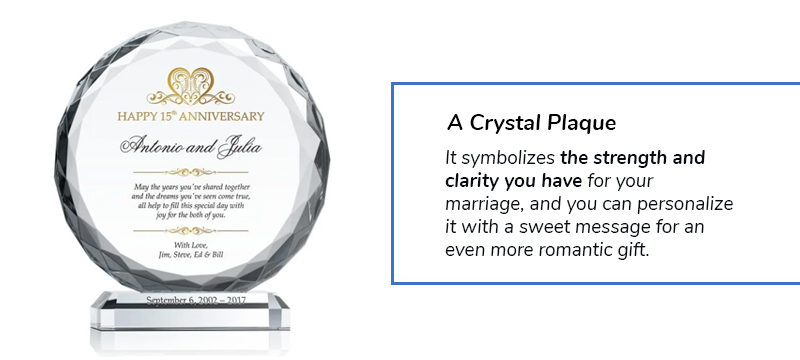 crystal anniversary plaque for 15 years