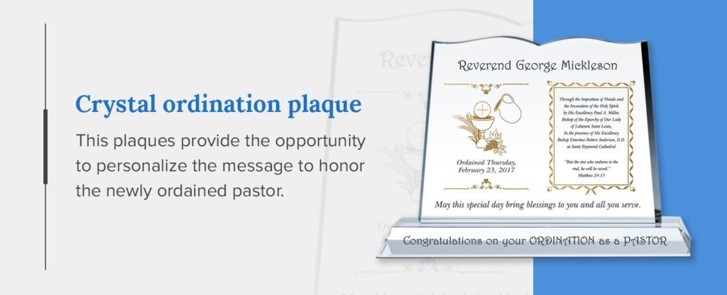 crystal ordination recognition gift plaque