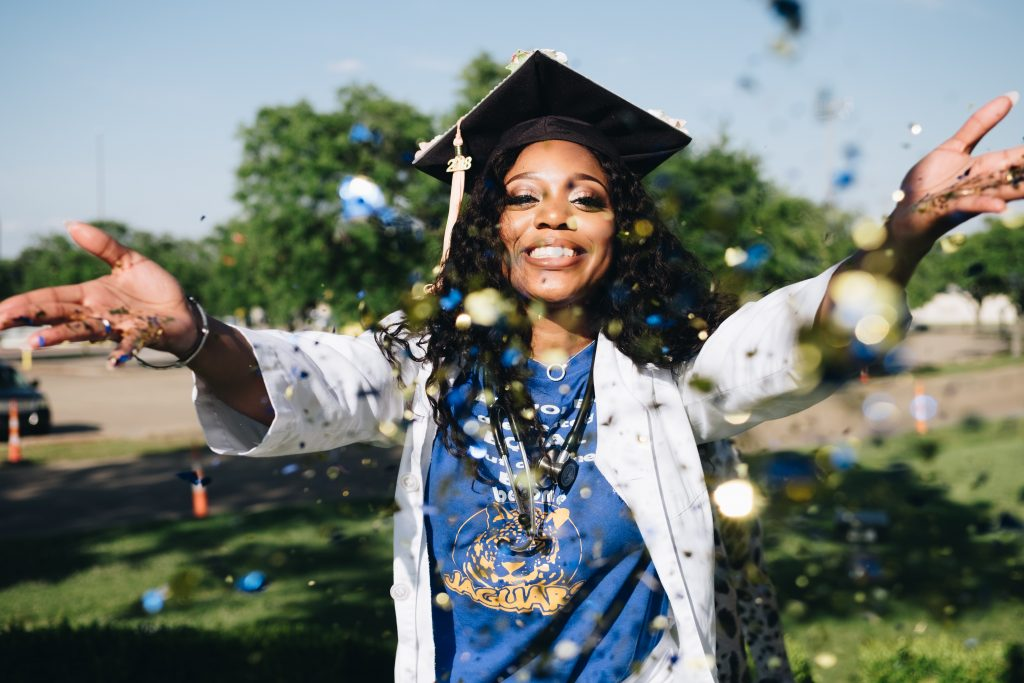 nurse celebrating graduation