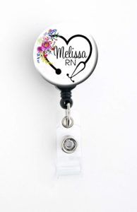 personalized retractable badge reel for nurse
