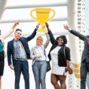 sales team trophy celebrating