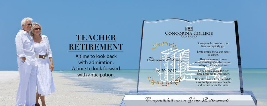 Retirement Gifts for Teachers: Personalized Crystal Award Plaques - Banner 1