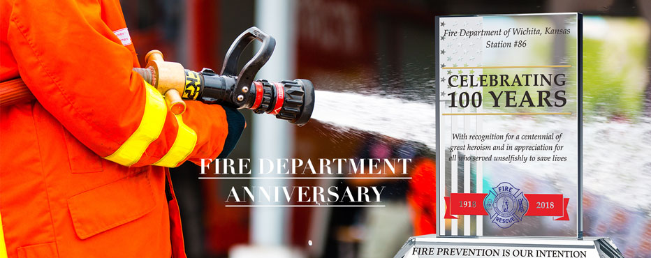 Personalized Crystal Fire Department Anniversary Gift Plaques - Banner 1