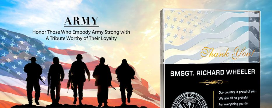 Unique Army Plaques and Soldier Gifts,<br>Honor Excellence with the Personalized Army Gifts. - Banner 1
