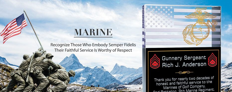 Personalized Crystal Plaques for USMC (Marine) Members & Veterans - Banner 1