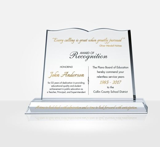 Special Teacher Recognition Plaque