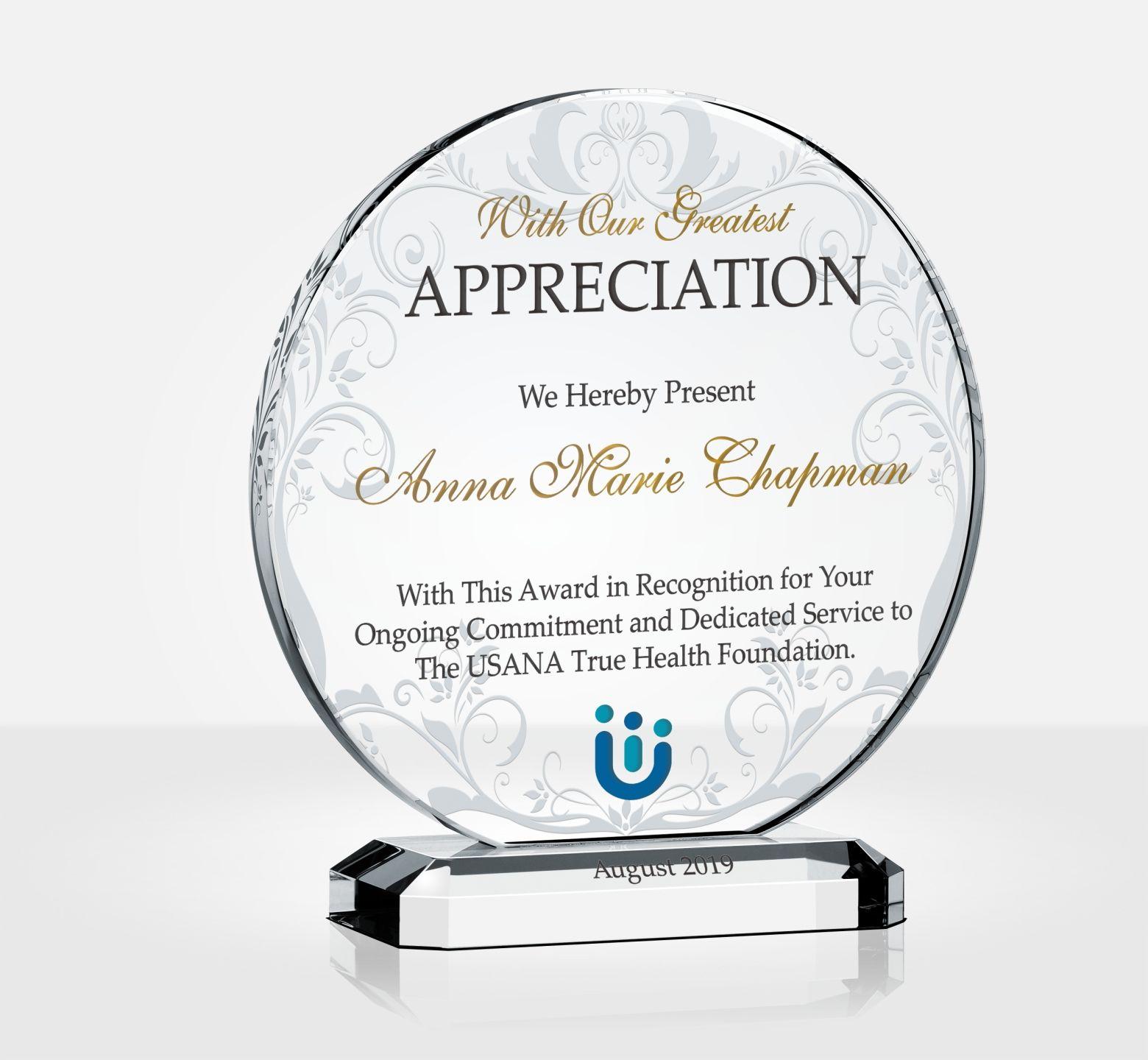 Custom Circular Crystal Appreciation Award - DIY Awards