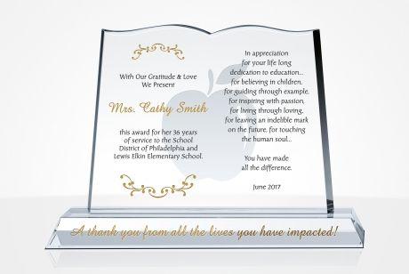 crystal book teacher appreciation award
