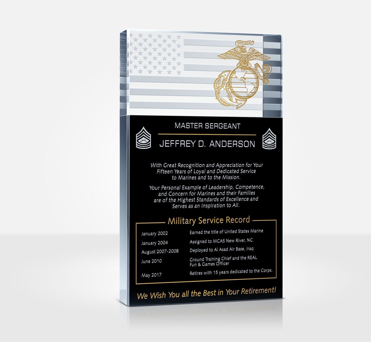 Sample USMC Retirement Wording