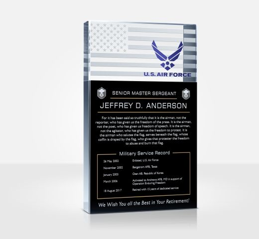 Air Force Retirement Plaque and Poem Samples - DIY Awards