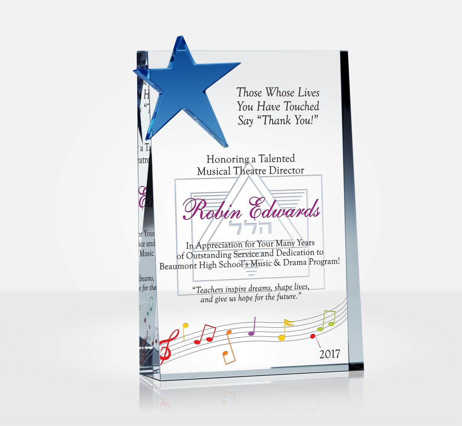 Appreciation Plaque For Music Teachers Diy Awards