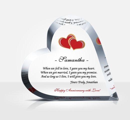 Crystal Wedding Anniversary Gift: Crystal Heart Anniversary Gift