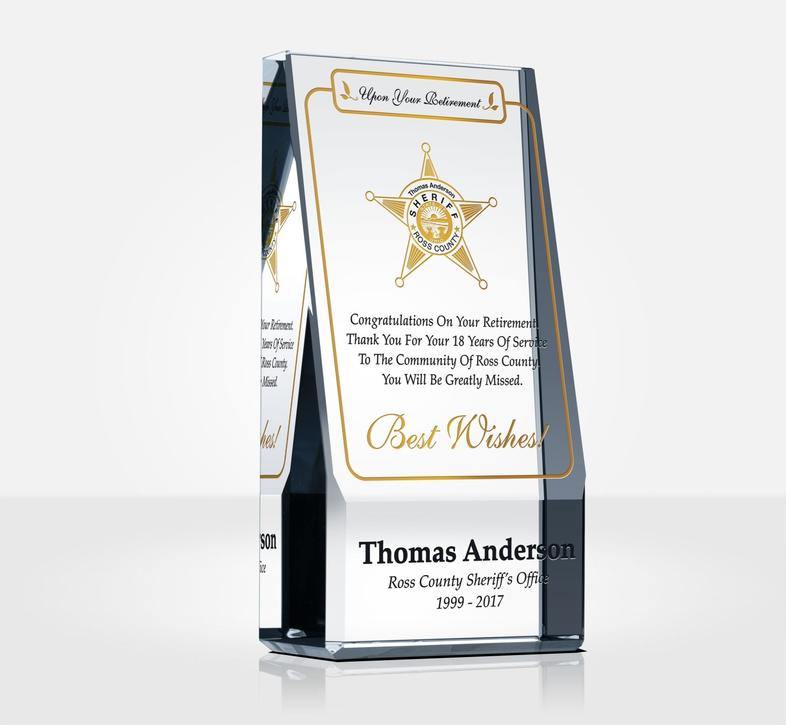 Sheriff Retirement Plaques And Quote Samples Diy Awards