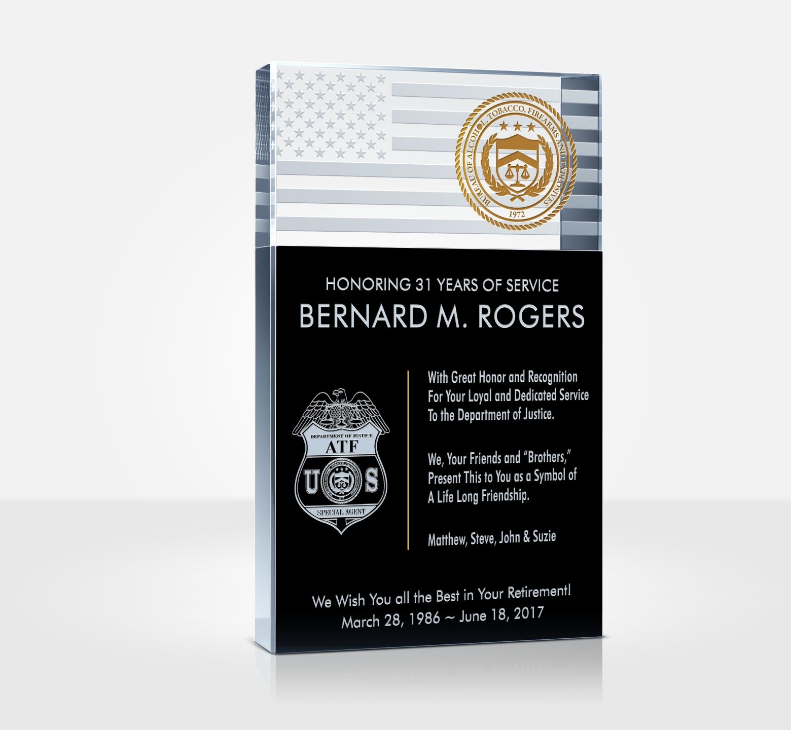 Law Enforcement Retirement Plaque Diy Awards