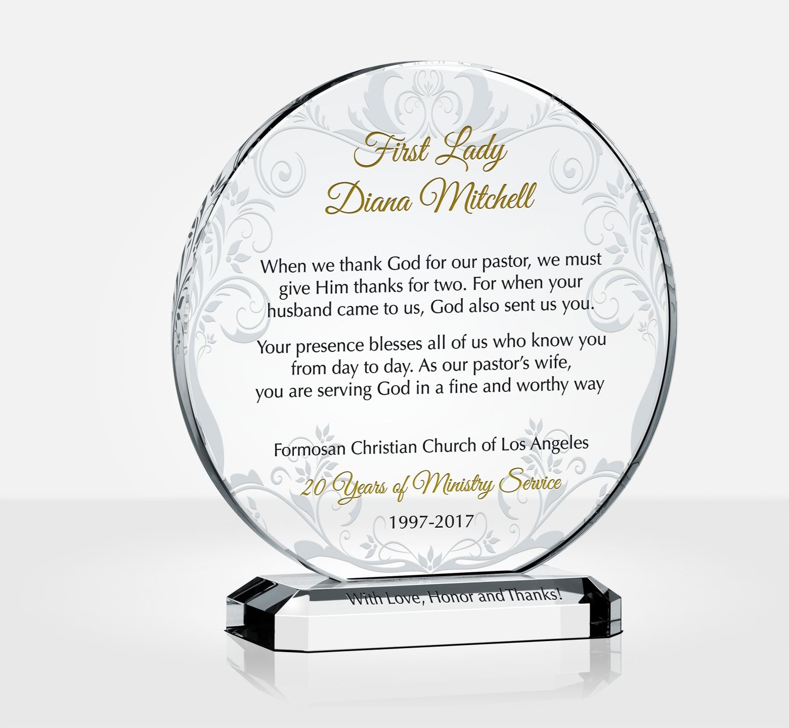 Thank You Pastor S Wife Plaque Diy Awards