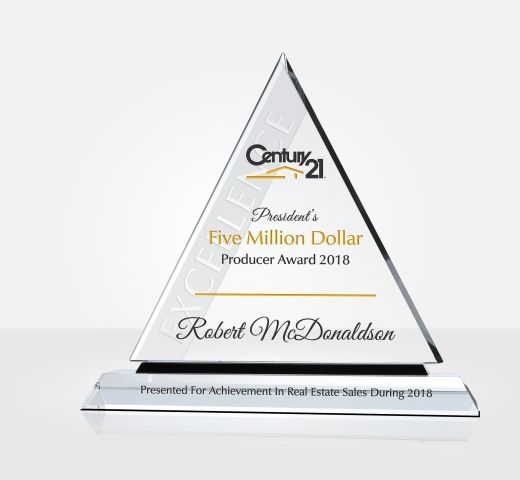 Real Estate Million Dollar Producer Award Plaque