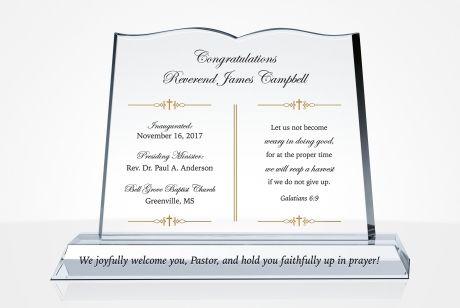 Crystal Plaques For Pastor Installation Diy Awards