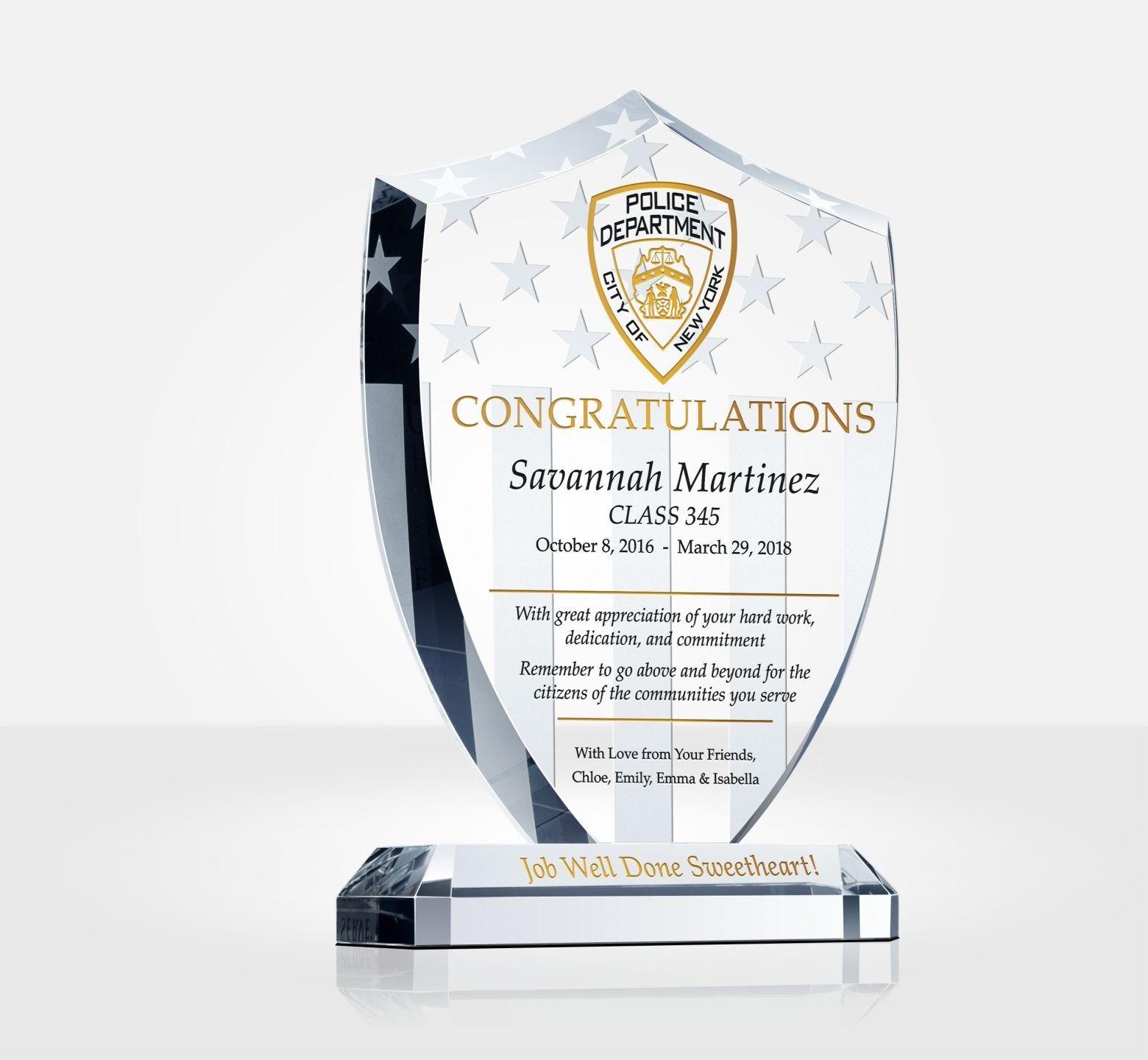 Shield Police Graduation Plaque Diy Awards