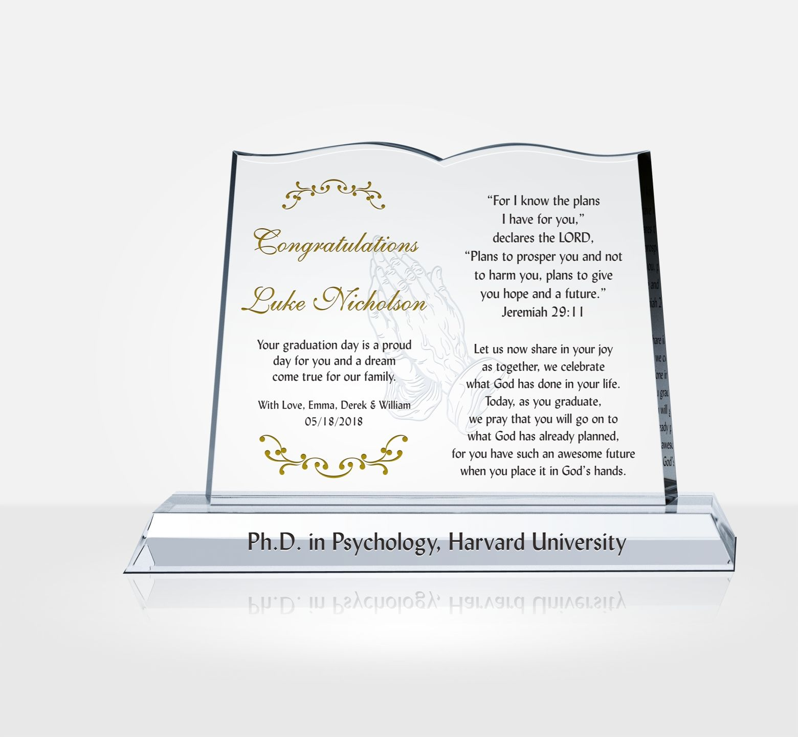 christian graduation gift plaque diy awards