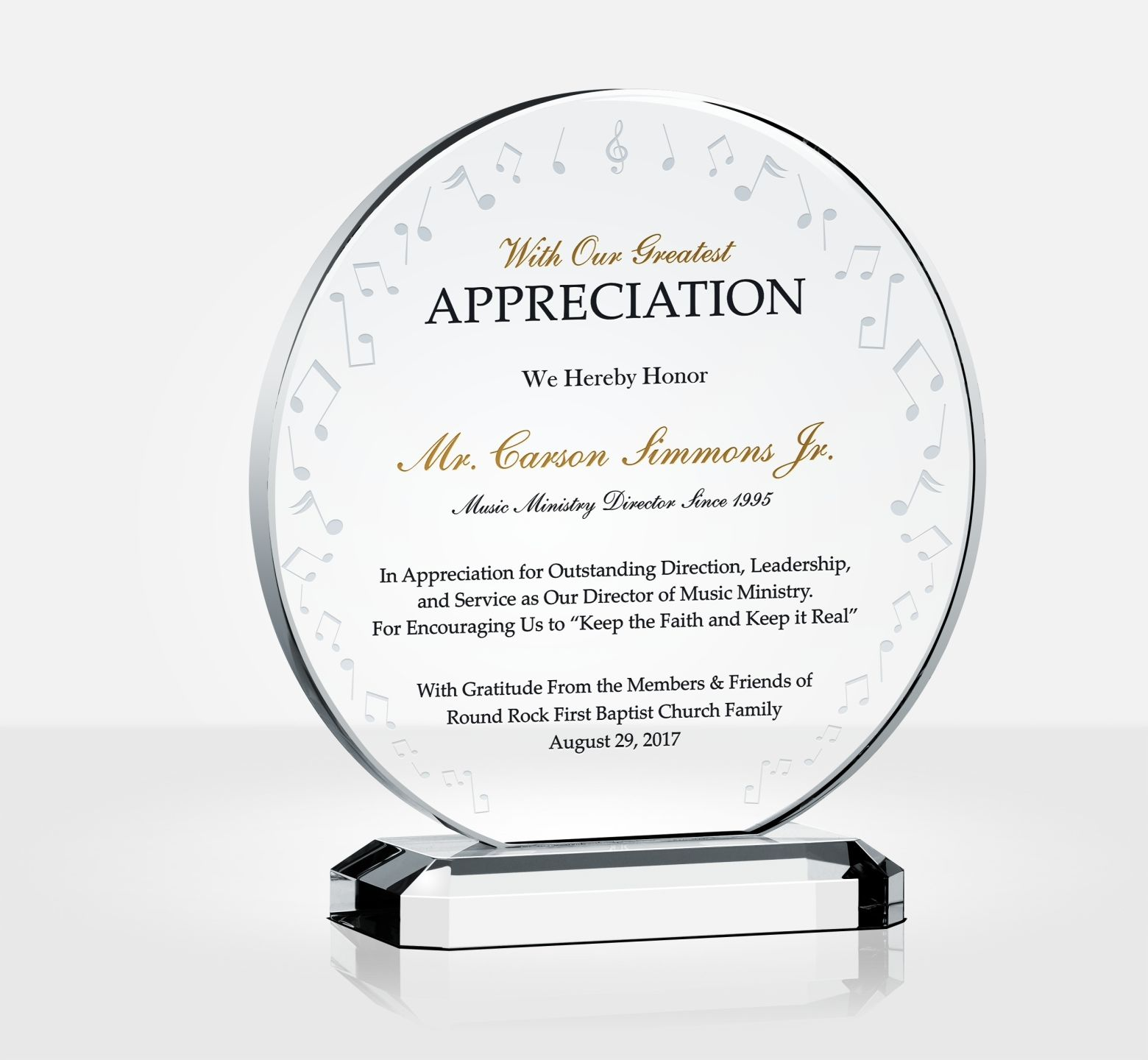 music ministry appreciation plaque diy awards. Black Bedroom Furniture Sets. Home Design Ideas