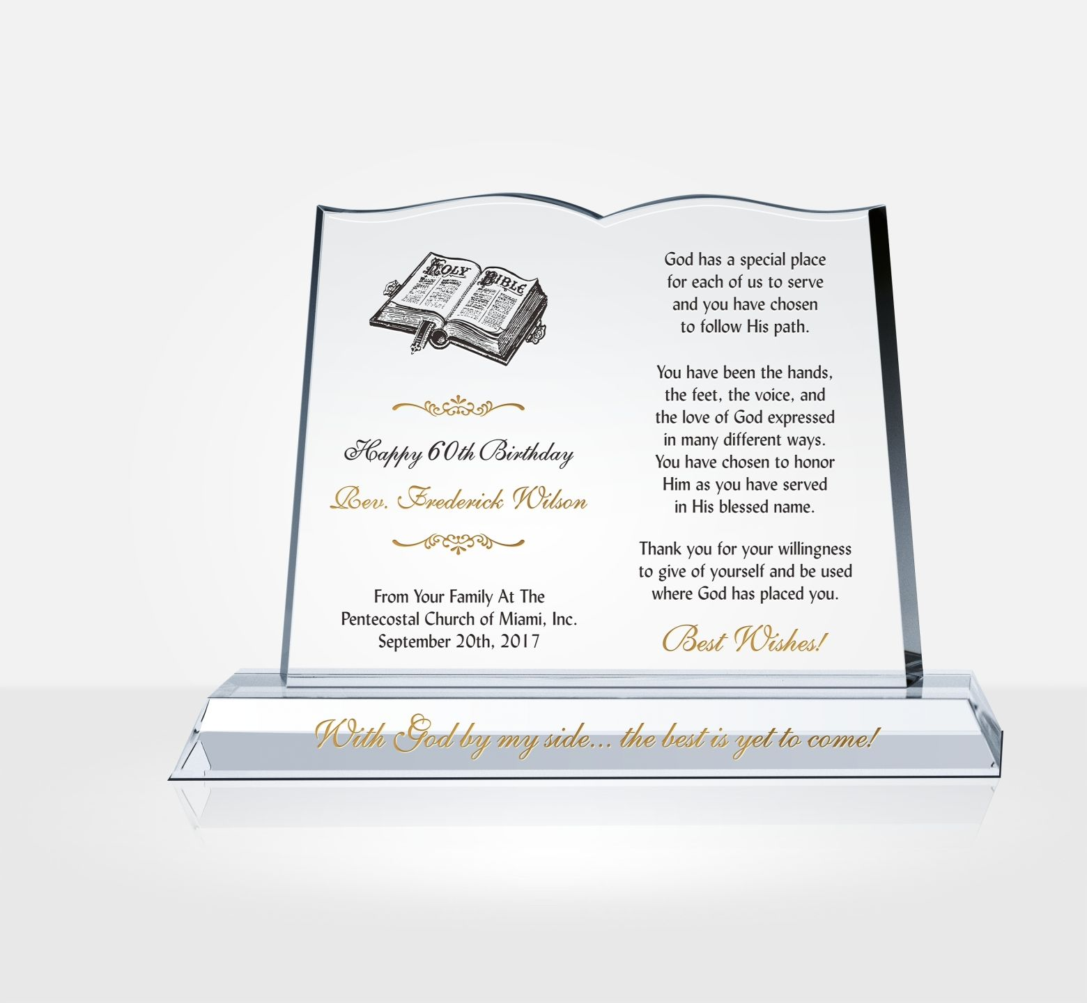 Pastor Birthday Gift Plaque - DIY Awards