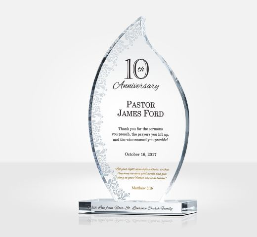 10th Pastoral Anniversary Gift Plaque