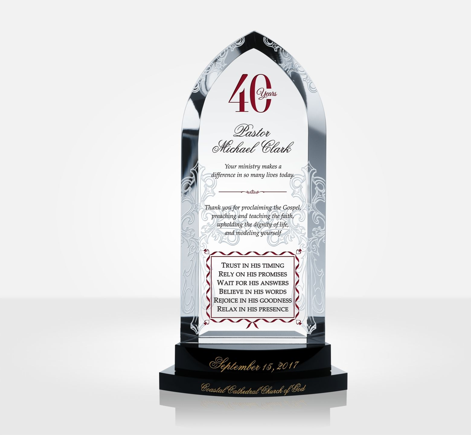 40th Anniversary Ruby Jubilee Gift For Pastor Diy Awards