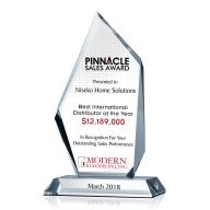 Crystal Pinnacle Sales Award Plaque