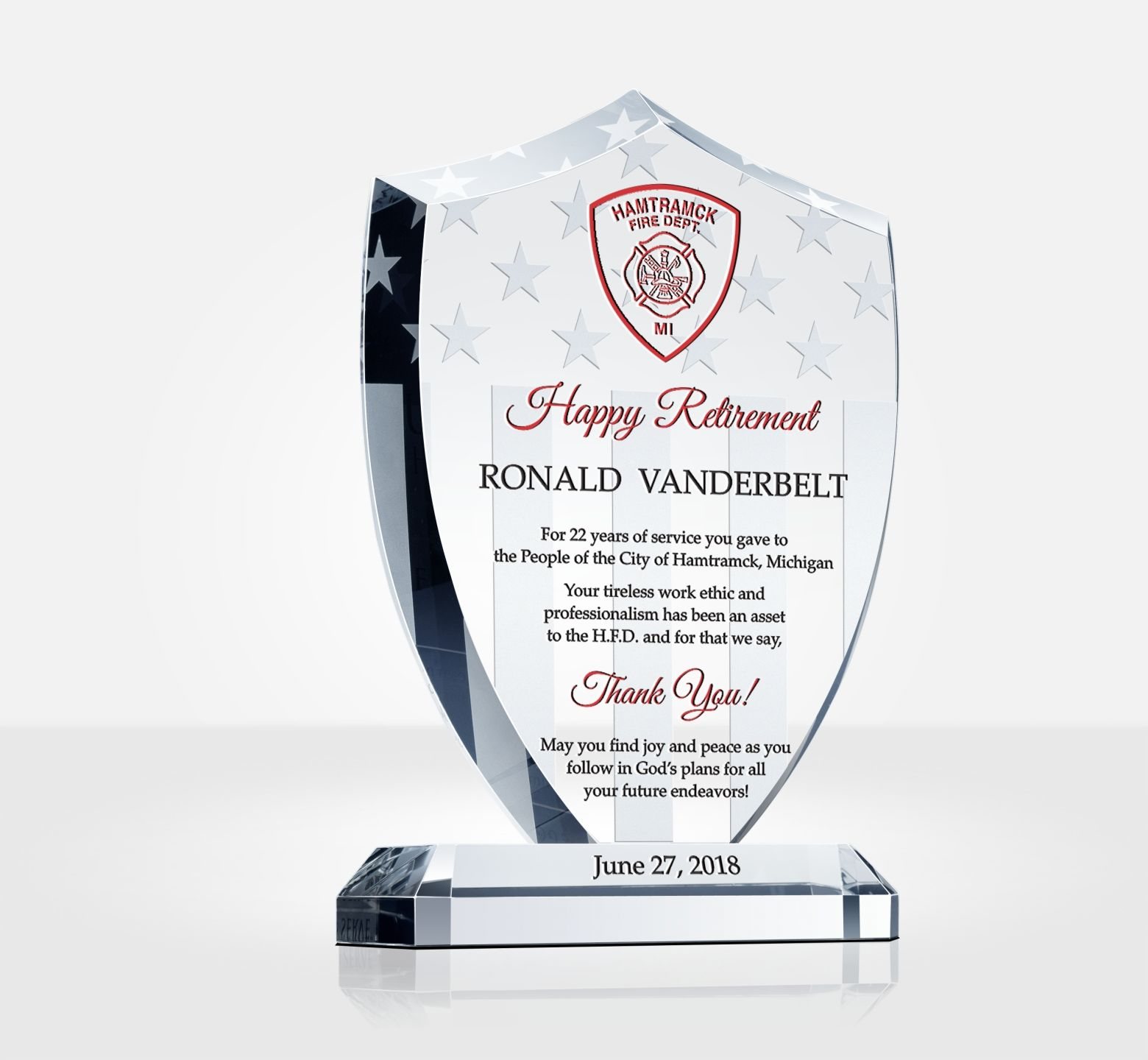 Shield Firefighter Retirement Gift Plaque Diy Awards