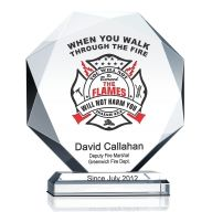 Crystal Firefighter Prayer Plaque