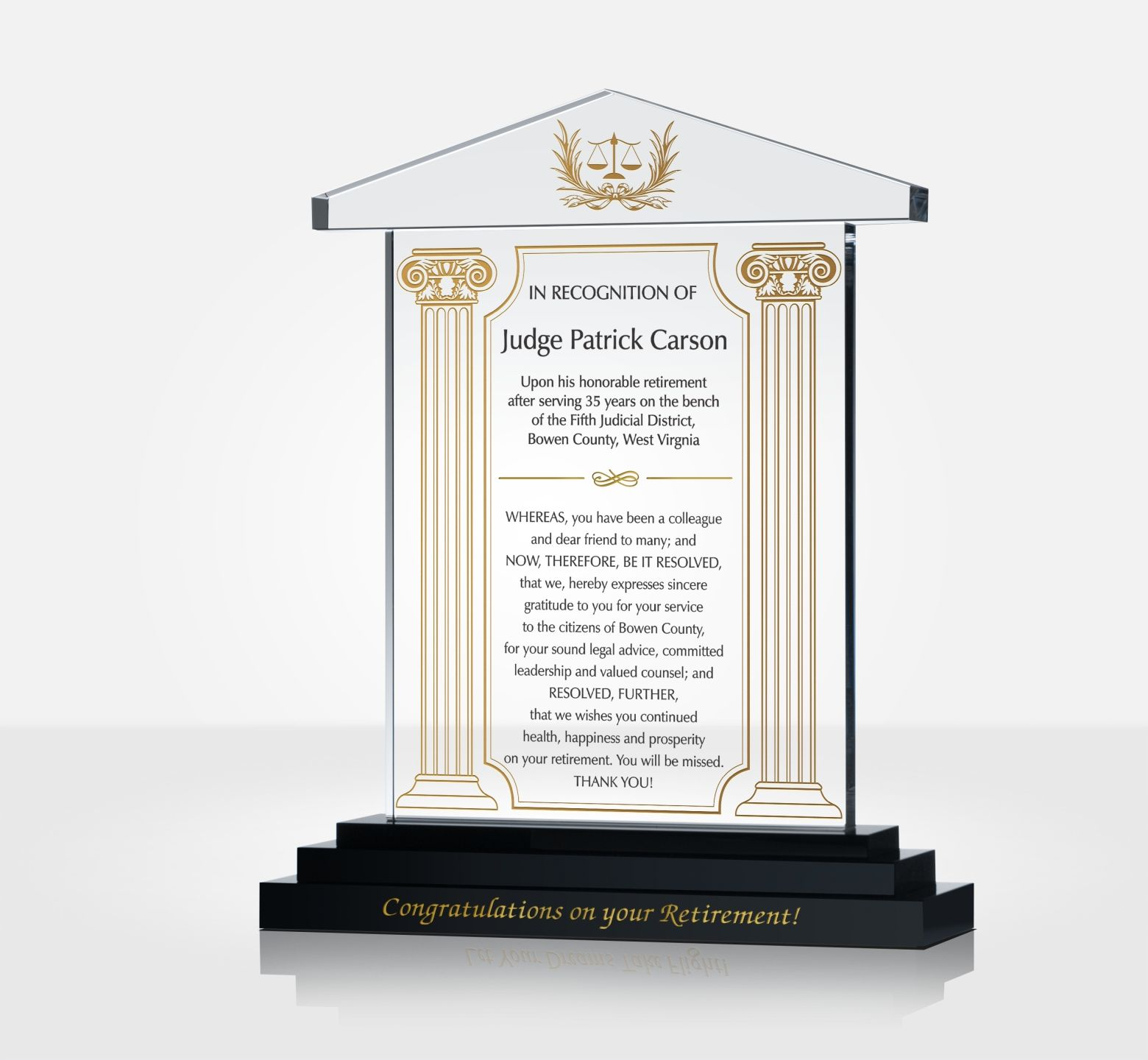 Judge Retirement Gift Plaque Diy Awards Jpg 1560x1440 Congratulation Wording