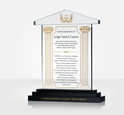 Judge Retirement Gift Plaque