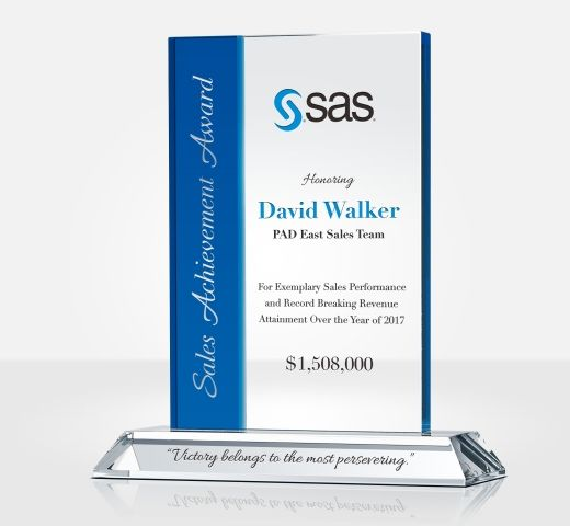 Crystal Sales Recognition Award plaque