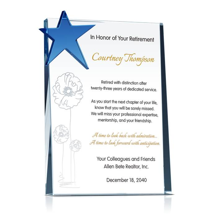 Star retirement recognition gift diy awards retirement gift inscription samples negle Images