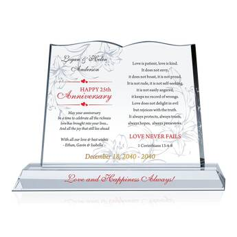 Love Never Fails Wedding Anniversary Plaque (#142-2)