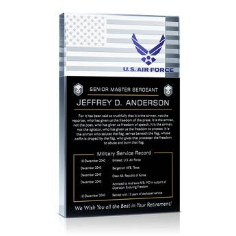 Personalized USAF Retirement Gift Plaque (#316-1)