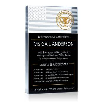 Army Retirement Plaques