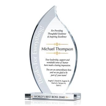 Unique Boss Appreciation Plaques with Sample Award Wording Ideas