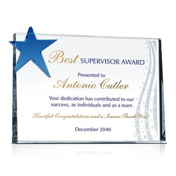 Star Supervisor Award Plaque