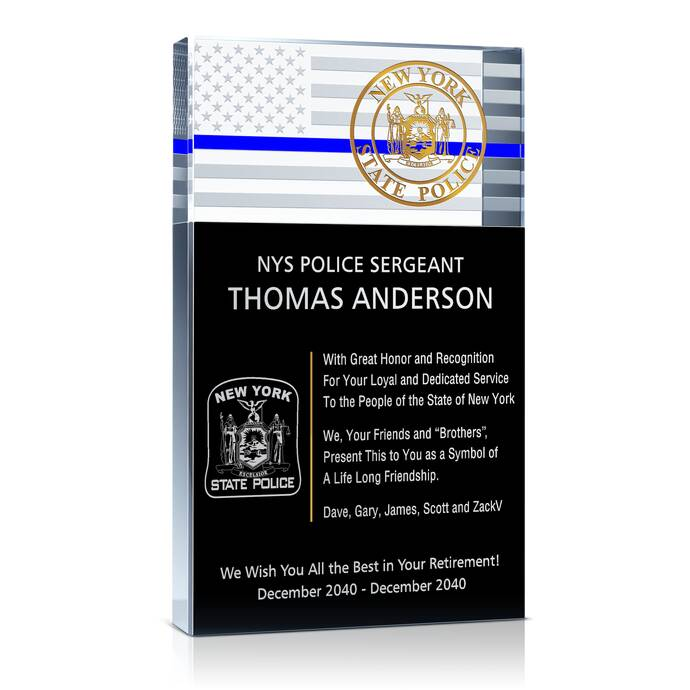 Police Retirement Plaque and Wording Samples | DIY Awards
