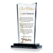 Wave Shaped Employee Retirement Award Plaque
