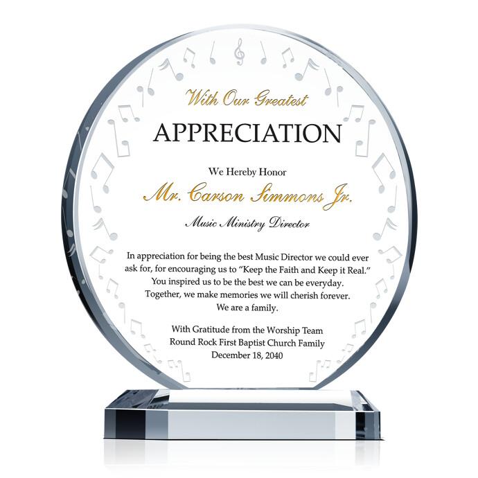 Music Ministry Appreciation Plaque Diy Awards
