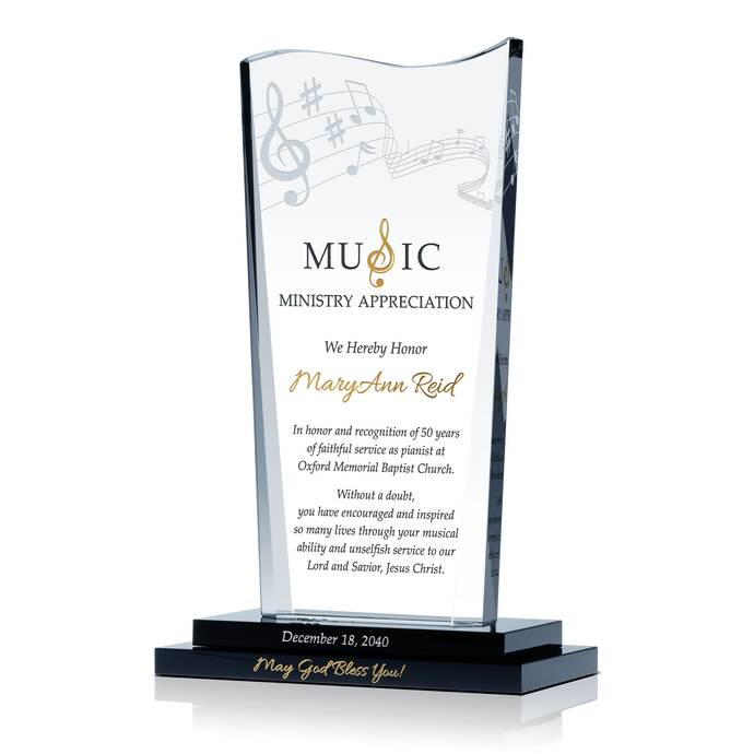 Music Minister Retirement Plaque | DIY Awards