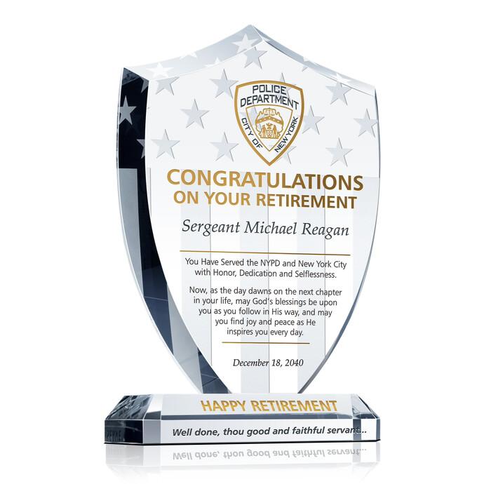 Shield Police Retirement Plaque | DIY Awards