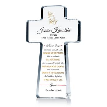 Nurse's Prayer Cross Plaque