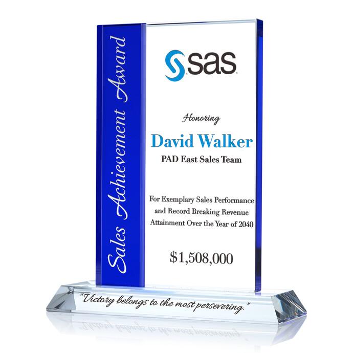 Rectangle Sales Achievement Award Plaque – Achievement Award Wording