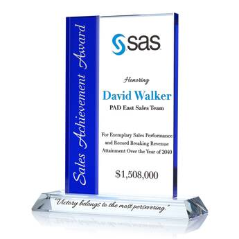 Rectangle Sales Achievement Award Plaque