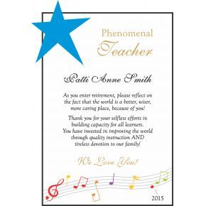 Teacher Retirement Gift Wording (#350-4)