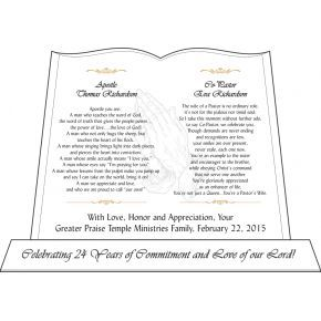 Pastoral Anniversary Gift for Pastor and His Wife (#268-4)