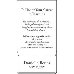 Teacher & Educator Retirement Gift Wording (#532-3)